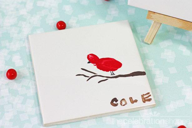 The celebration shoppe red bird fingerprint art 4762 wl