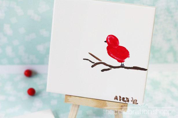 The celebration shoppe red bird fingerprint art 4763 wl