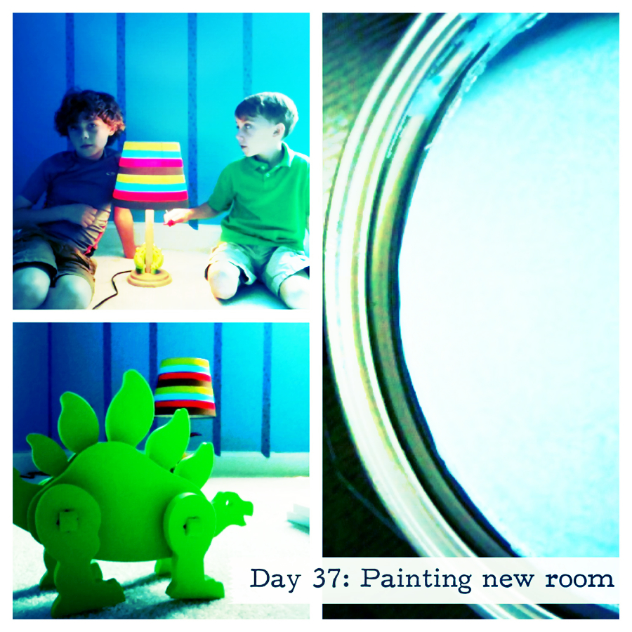 Day 37 painting stripes in the boys new room