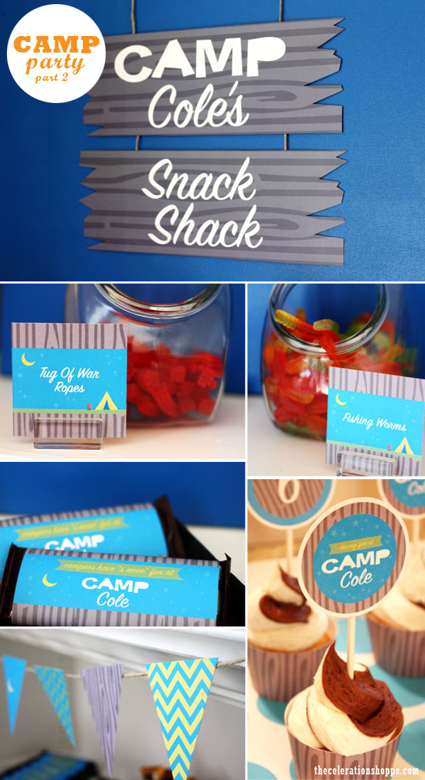 The celebration shoppe camp party snack shack collage 2