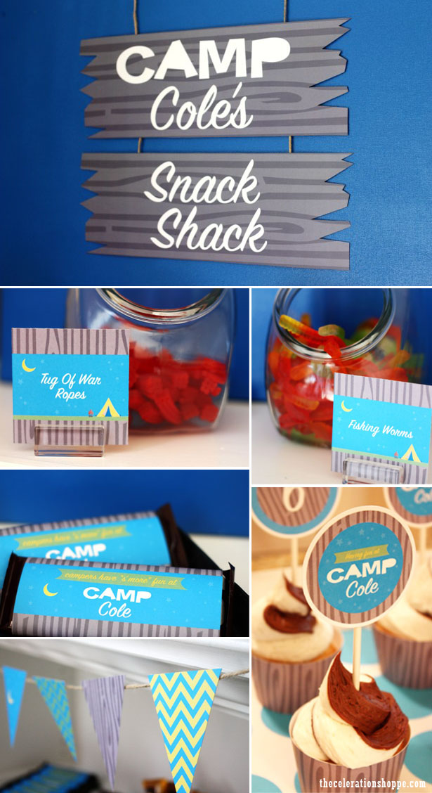 The celebration shoppe camp party snack shack collage