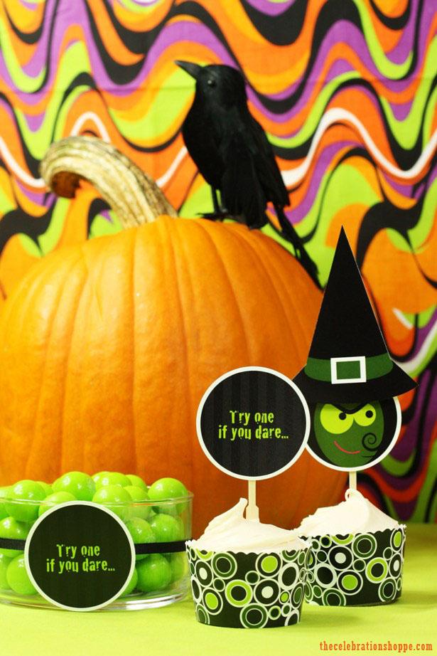Free Printable Halloween Cupcake Picks and Wrappers   Kim Byers