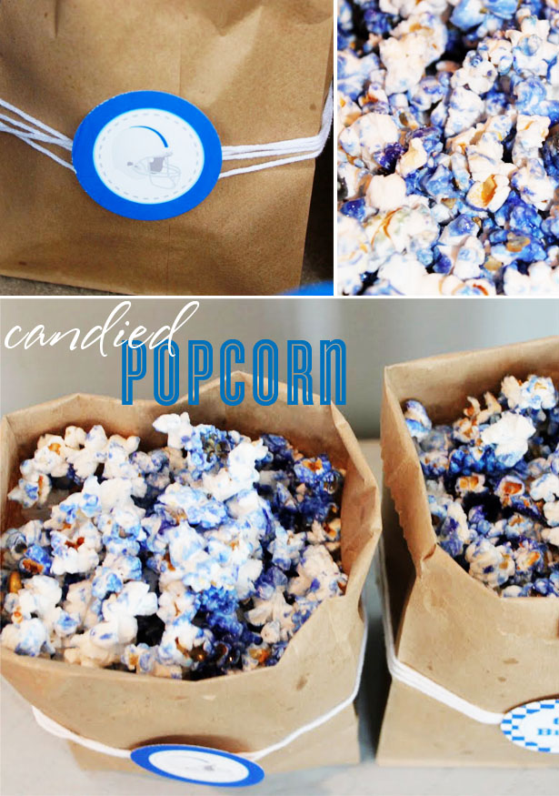 Colored candied popcorn