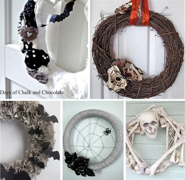 Black and White DIY Halloween Wreaths | Kim Byers