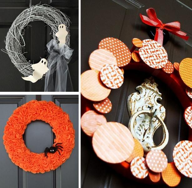 Orange and White Halloween Wreaths | Kim Byers