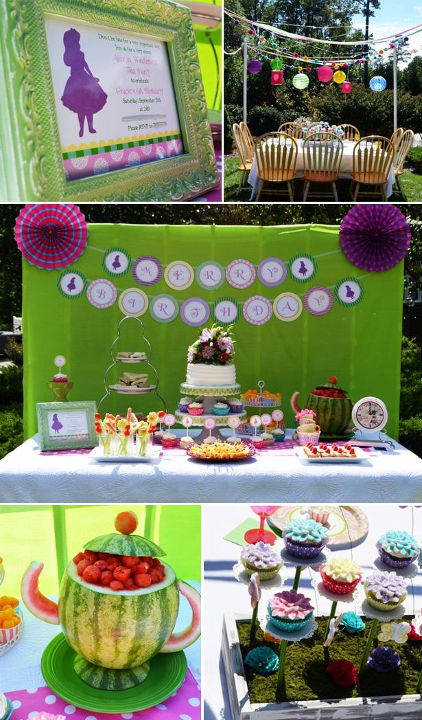 Alice in wonderland tea party dessert table 2
