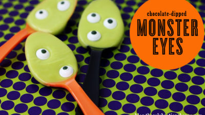 Chocolate dipped halloween spoons