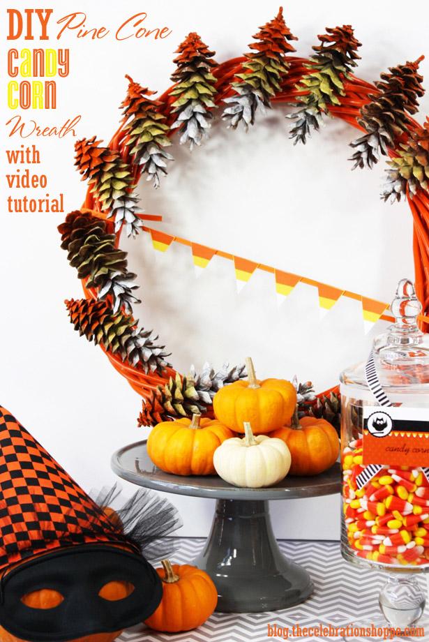 The celebration shoppe candy corn pine cone wreath 2