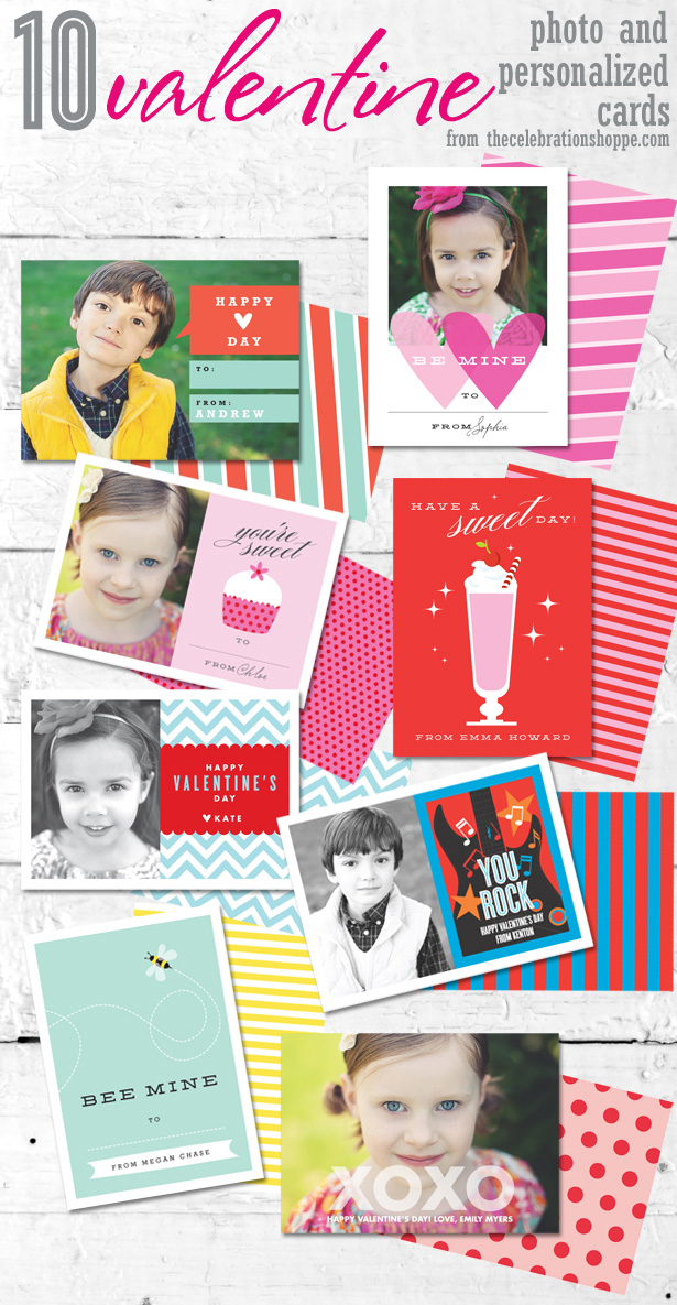 10 valentine photo personalized cards
