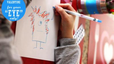 Diy kid craft valentine monster card
