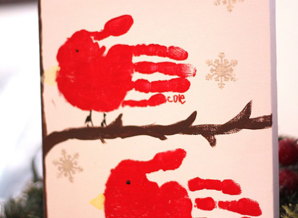 Red bird handprint art 0065 wl1