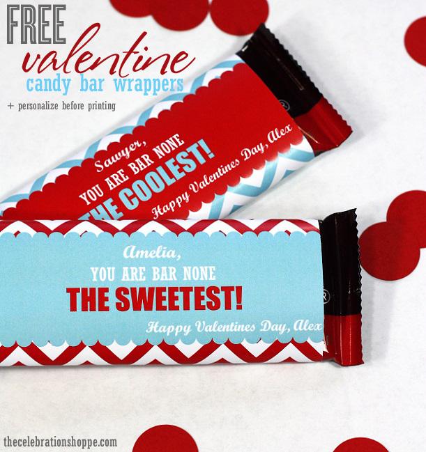 FREE Valentine candy bar printables