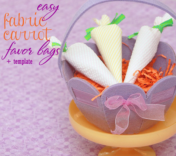 Diy fabric carrot favor bag wt