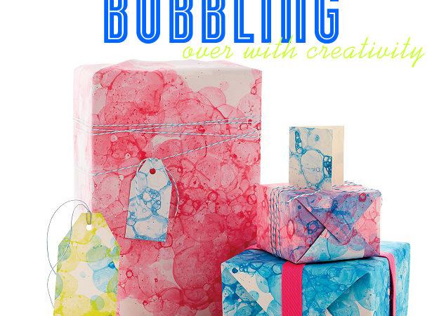Martha stewart bubble print gift wrap idea