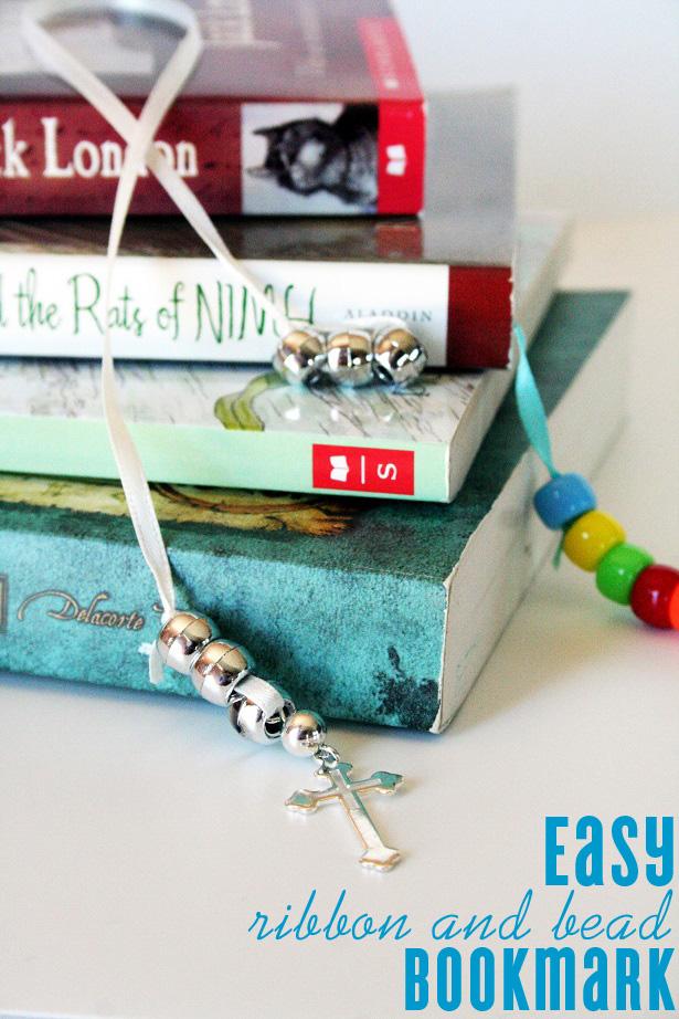Diy ribbon and bead bookmark 8652
