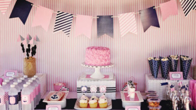 Pink and navy nautical party