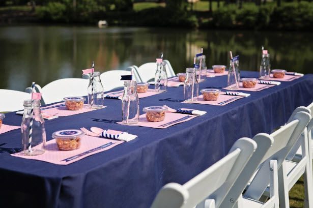 Pink and Navy Nautical Party Table