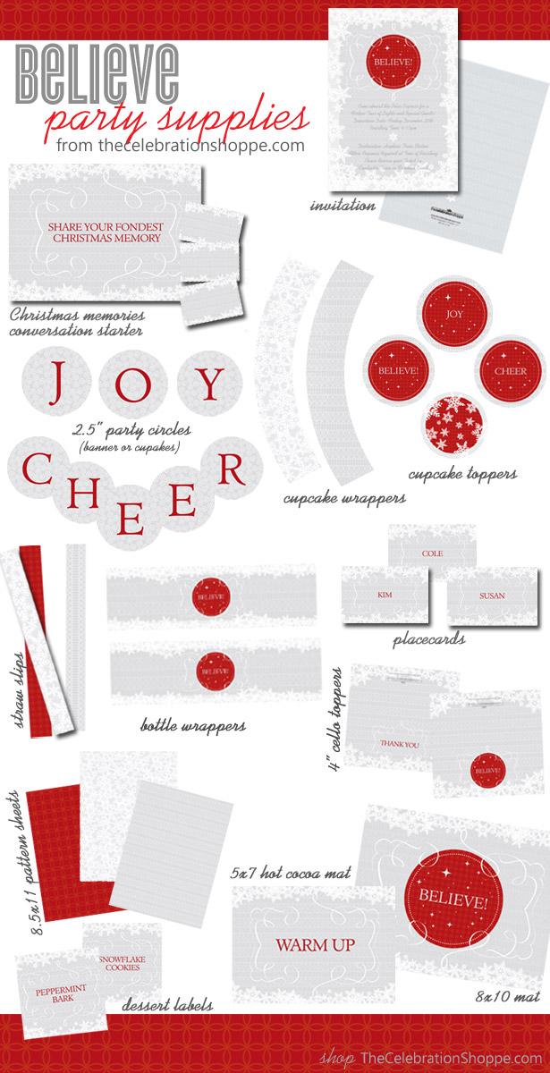 BELIEVE Red and Silver Christmas Party Supplies | TheCelebrationShoppe.com