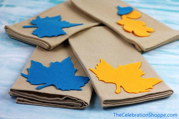 Leaf applique napkins for Thanksgiving | TheCelebrationShoppe.com