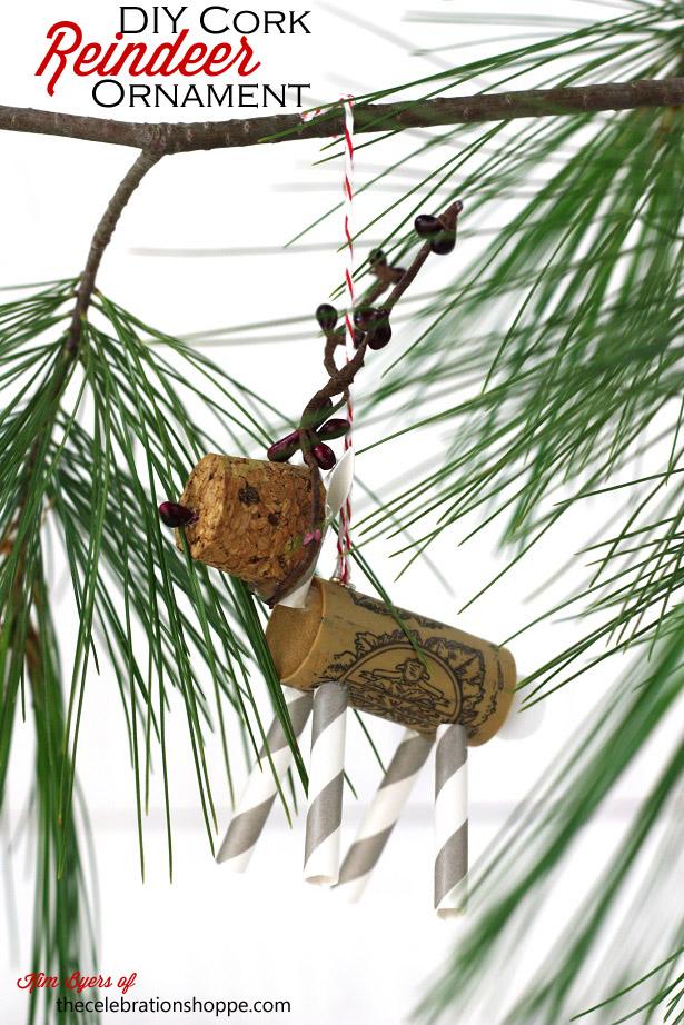 3 rudolph cork reindeer ornament hanging 4393wt