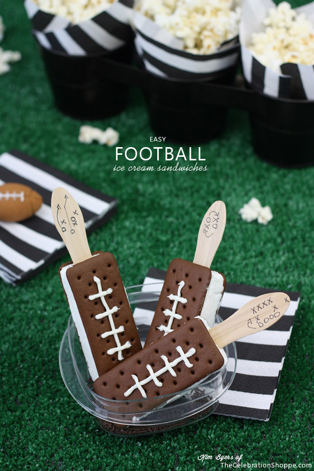 Super Easy Football Ice Cream Sandwiches | TheCelebrationShoppe.com