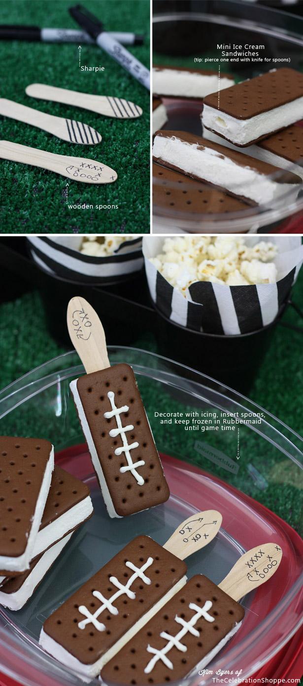 Super Bowl Football Ice Cream Sandwiches   TheCelebrationShoppe.com