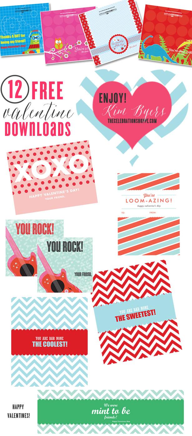 12 Free Class Valentines | Kim Byers, TheCelebrationShoppe.com