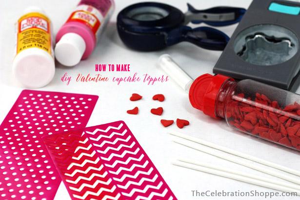 DIY Valentine Cupcake Toppers    TheCelebrationShoppe.com