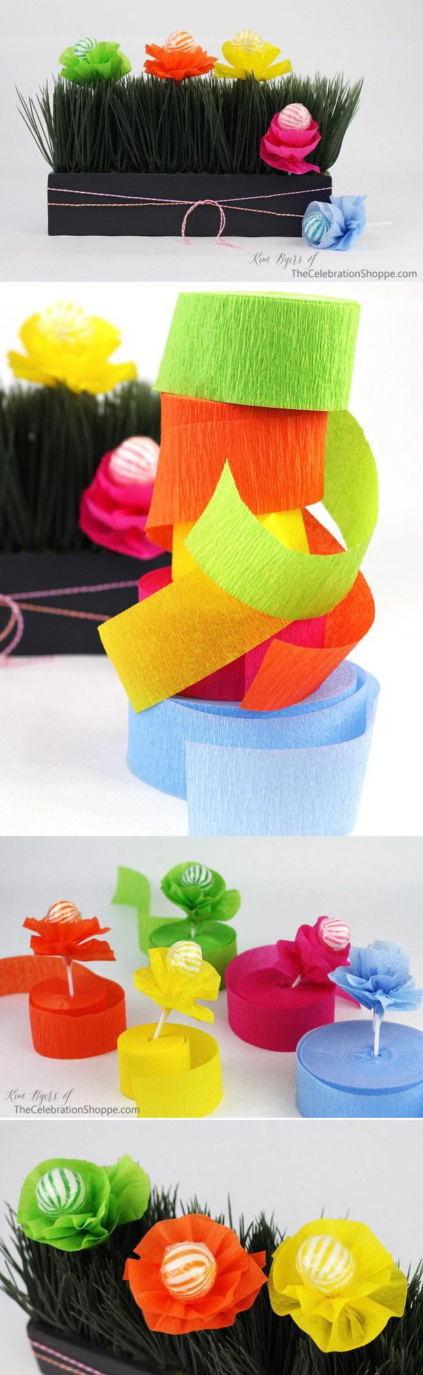 Crepe Paper Flower Lollipop Favor Tutorial   Kim Byers, TheCelebrationShoppe.com