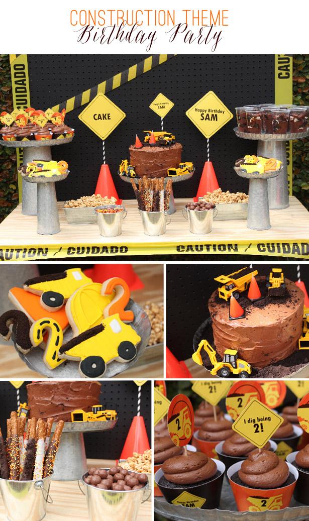 Construction theme birthday party dessert table