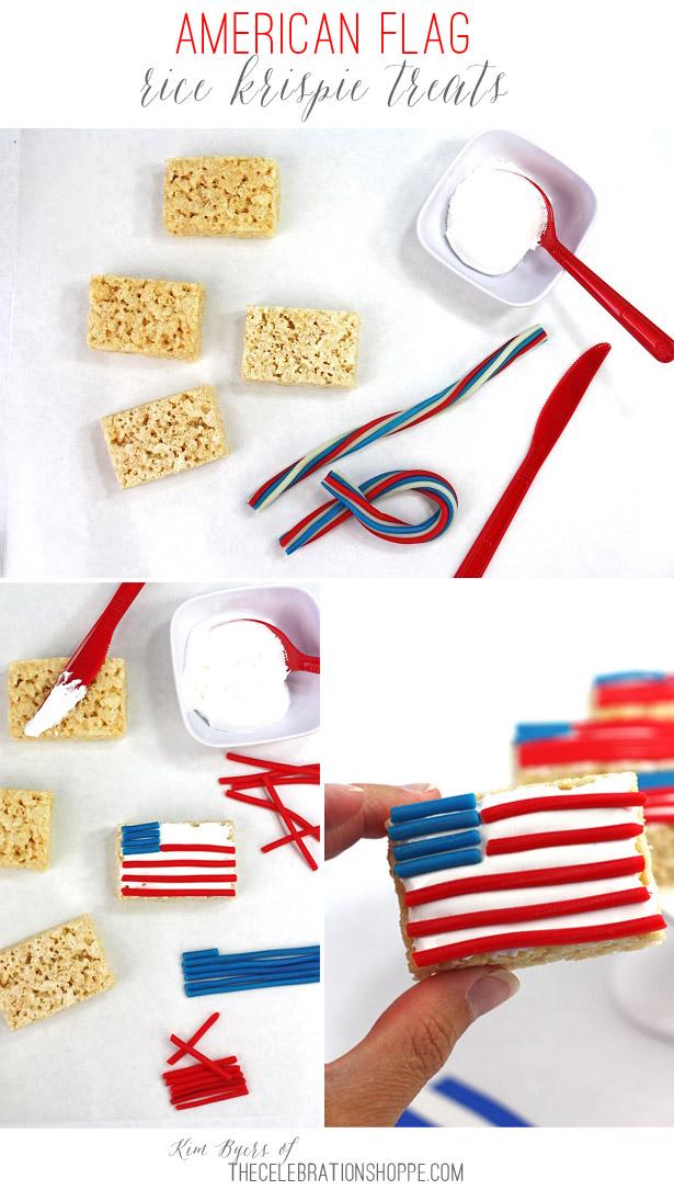 American Flag Rice Krispies Treats | Kim Byers, TheCelebrationShoppe.com