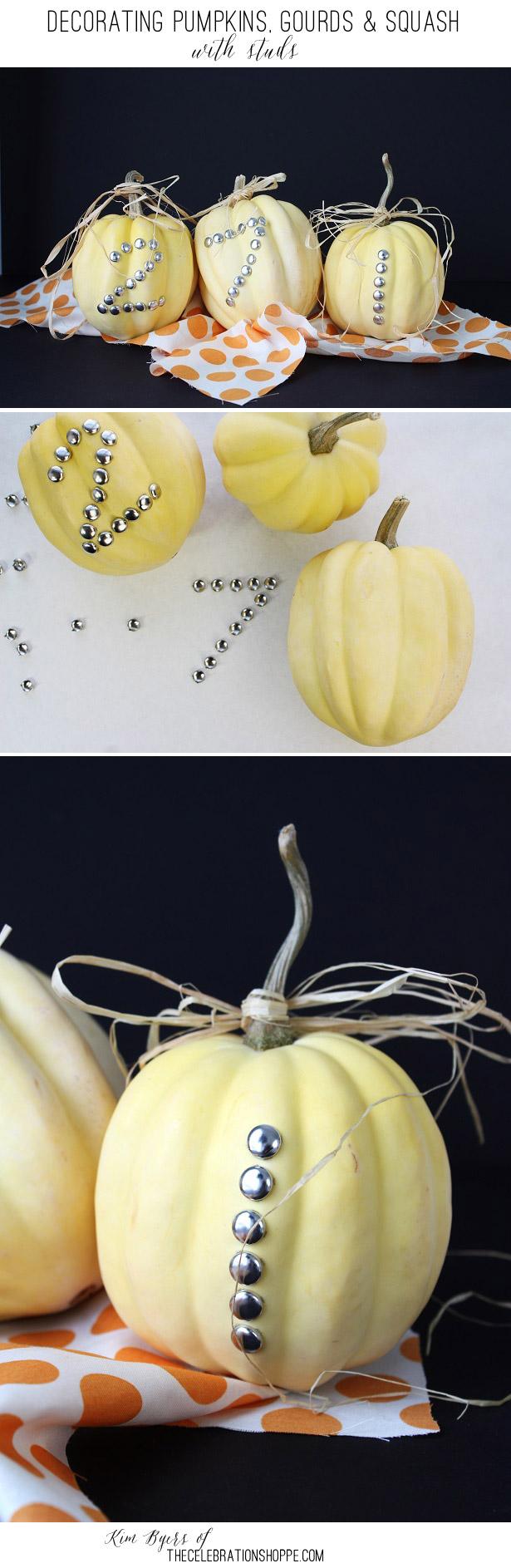 Decorating pumpkins squash with studs kim byers