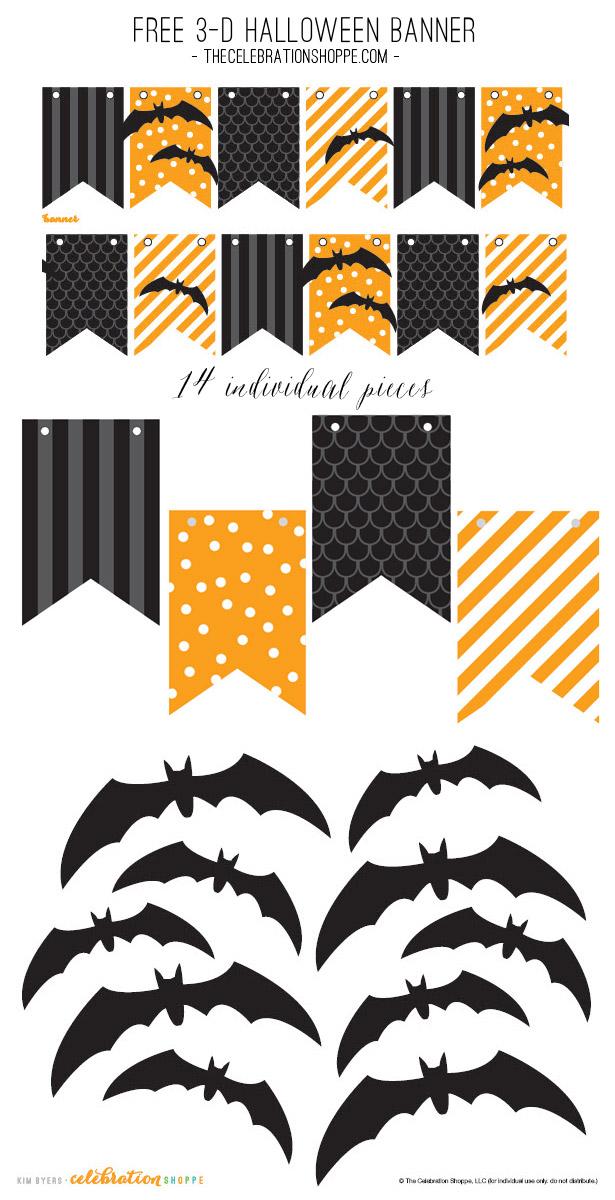 Free halloween black orange bat banner kim byers