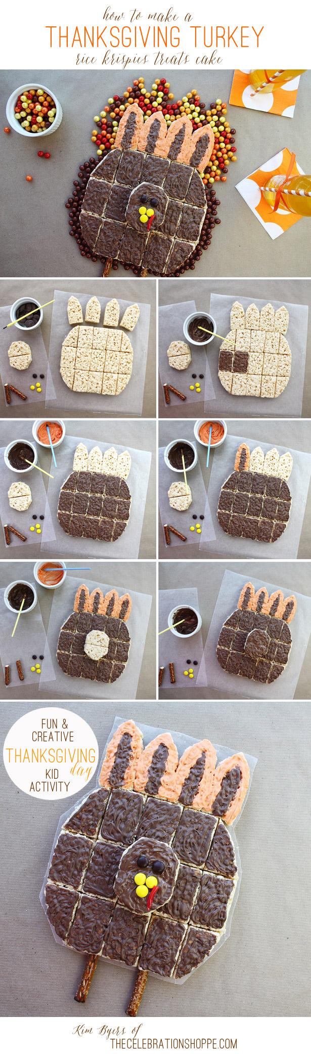 Kid Craft: Thanksgiving Turkey Rice Krispies Treat Cake | Kim Byers, TheCelebrationShoppe.com