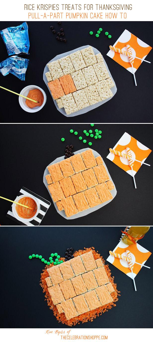 Pull-A-Part Rice Krispies Treats Pumpkin Cake   Kim Byers, TheCelebrationShoppe.com