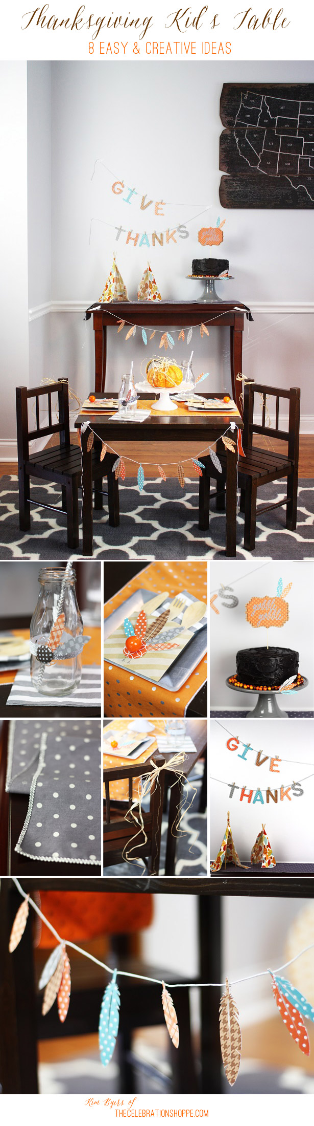 8 Easy & Creative Thanksgiving Kid's Table Crafts | Kim Byers, TheCelebrationShoppe.com