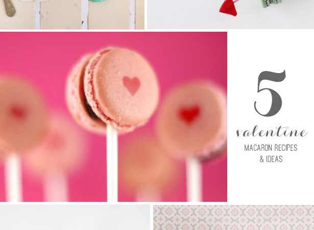 5 valentine macarons