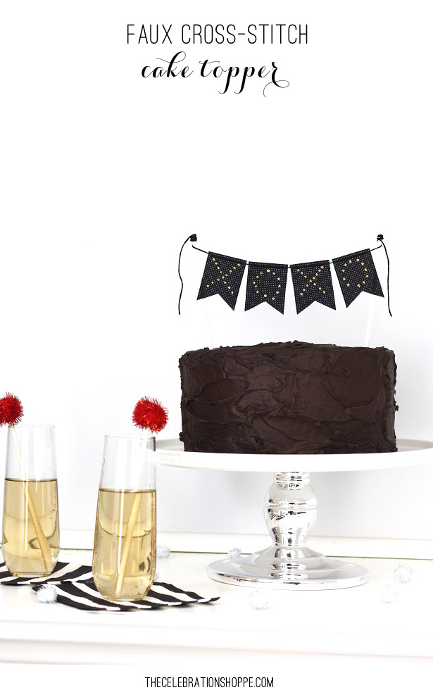 Faux cross stitch cake topper kim byers