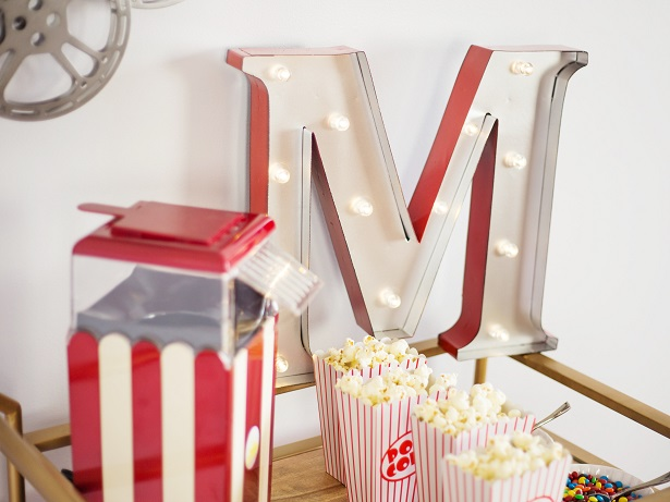 Movie Night Bar Cart with Marquee Letter