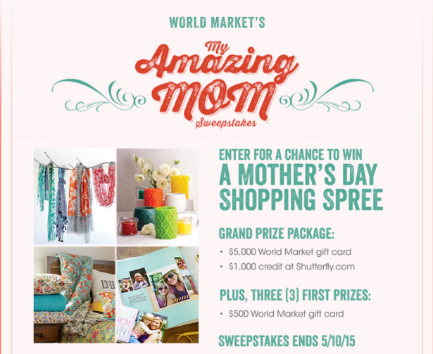 #MyAmazingMom Giveaway with World Market and Shutterfly