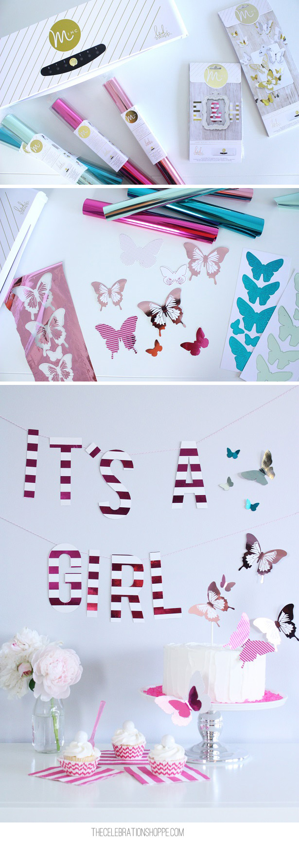 Foil Covered Butterflies for Baby Shower | Kim Byers, TheCelebrationShoppe.com