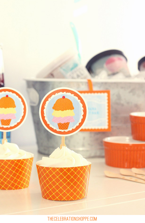 Ice Cream Party Cupcake Toppers | Kim Byers