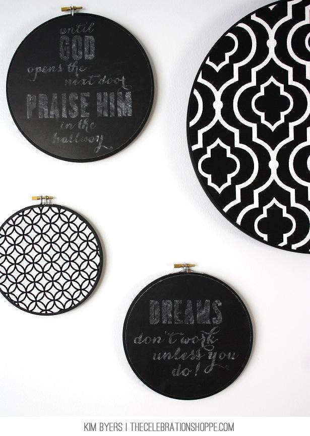Chalkboard Embroidery Hoops   Kim Byers, TheCelebrationShoppe.com
