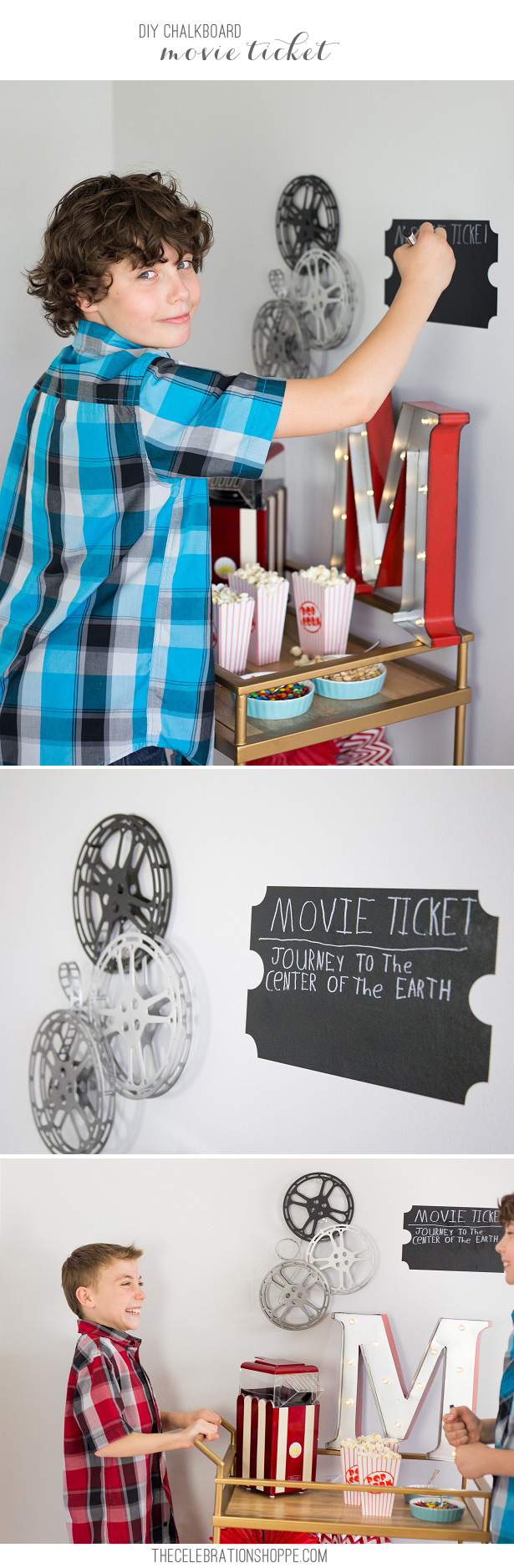 Diy chalkboard movie ticket kim byers