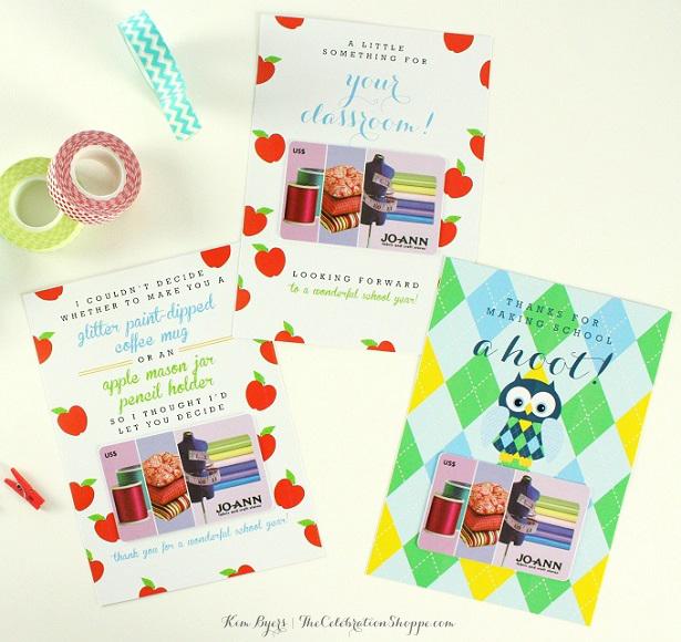 Teacher Appreciation Gift Card Holders // Three Free Printable Designs // Kim Byers, TheCelebrationShoppe.com