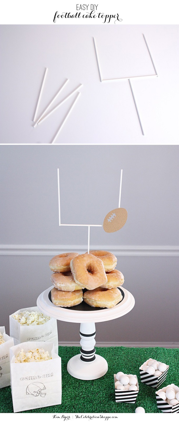 Easy DIY football goalpost cake topper | Kim Byers, TheCelebrationShoppe.com