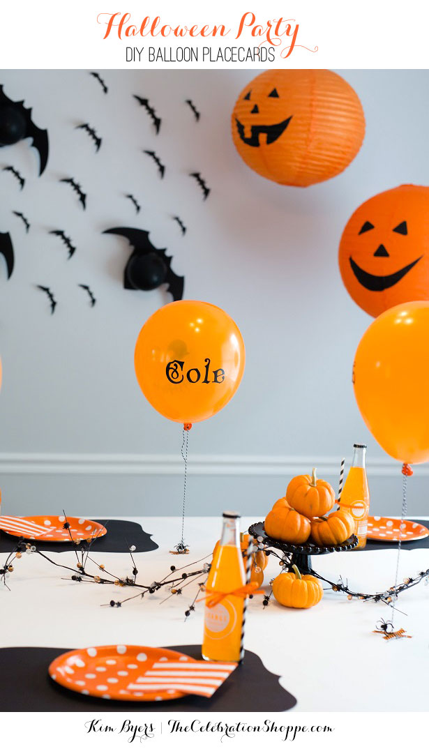 Halloween party balloon placecards kim byers