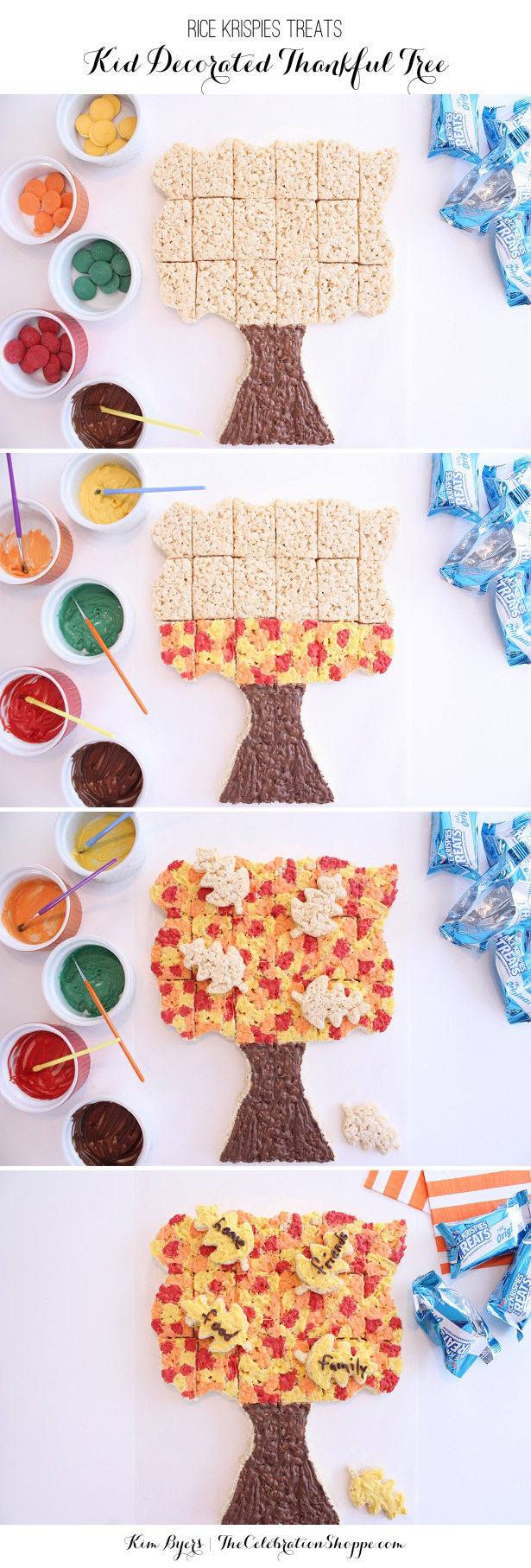"""Rice Krispies Treats Thankful Tree Pull-A-Part   Kids can """"paint"""" while you cook!   Kim Byers, TheCelebrationShoppe.com"""