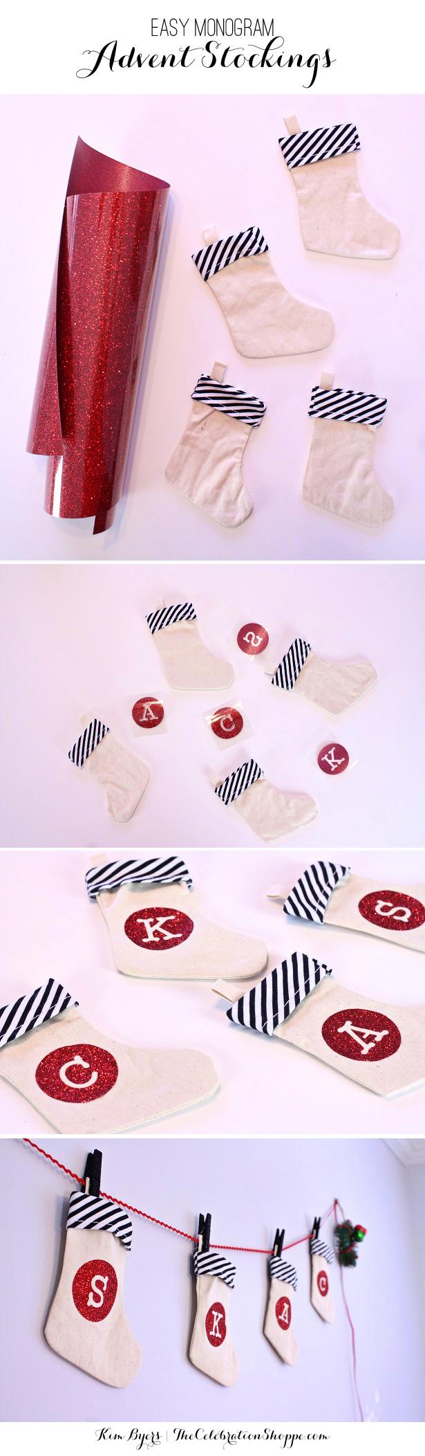 DIY Monogram Advent Stockings   Kim Byers