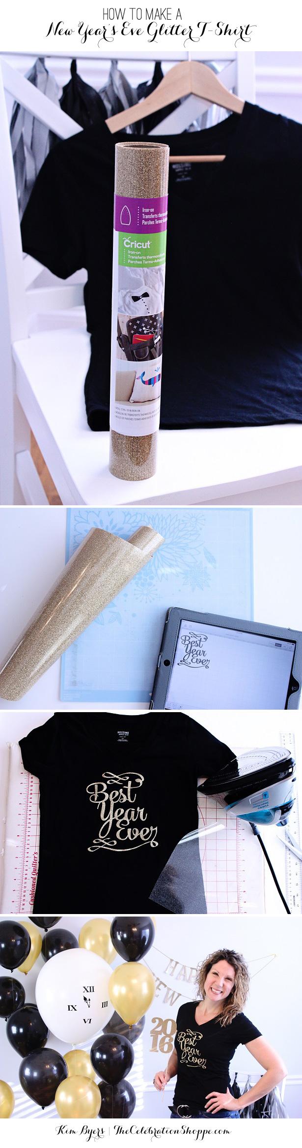 Make A New Year's Eve Glitter Iron-On T-Shirt | @kimbyers TheCelebrationShoppe.com